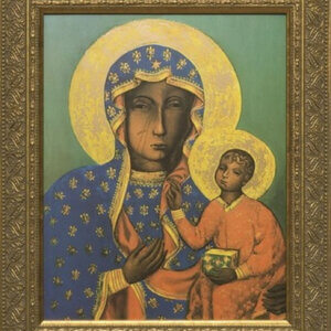 Why does Our Lady of Częstochowa have slash marks on her face?